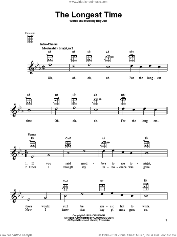The Longest Time sheet music for ukulele by Billy Joel, intermediate skill level