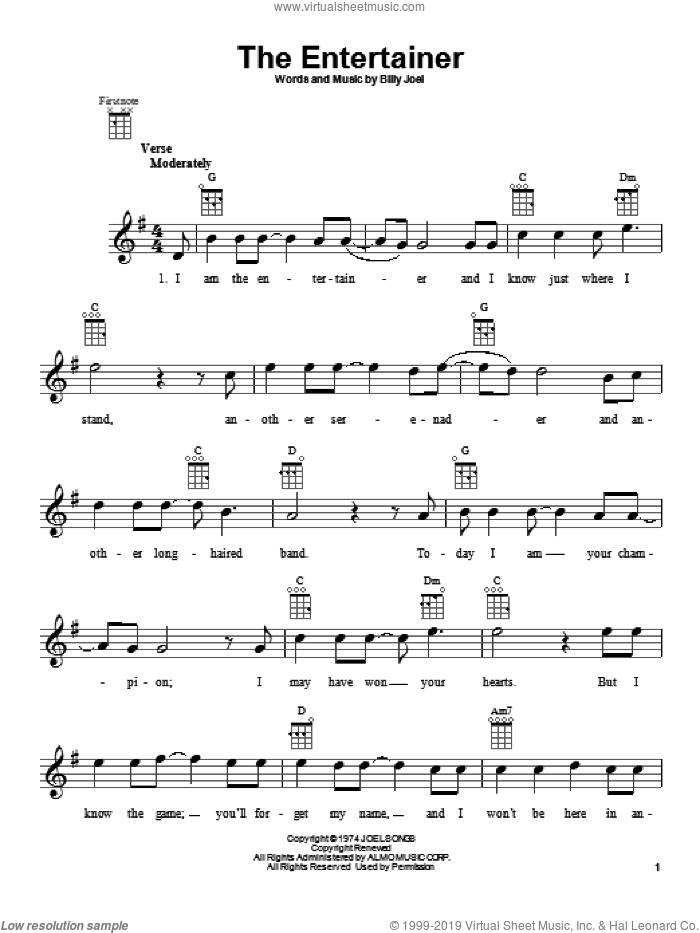 The Entertainer sheet music for ukulele by Billy Joel, intermediate. Score Image Preview.