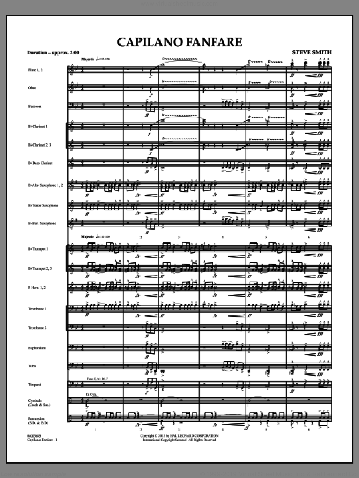 Capilano Fanfare (Digital Only) (COMPLETE) sheet music for concert band by Steve Smith, intermediate. Score Image Preview.
