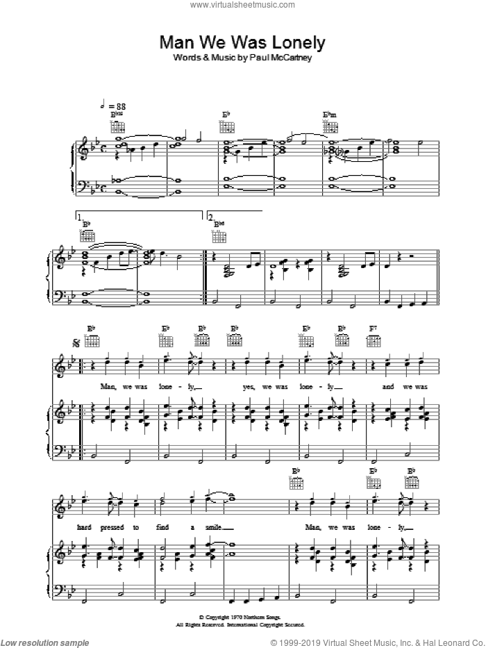 Man We Was Lonely sheet music for voice, piano or guitar by Paul McCartney, intermediate. Score Image Preview.