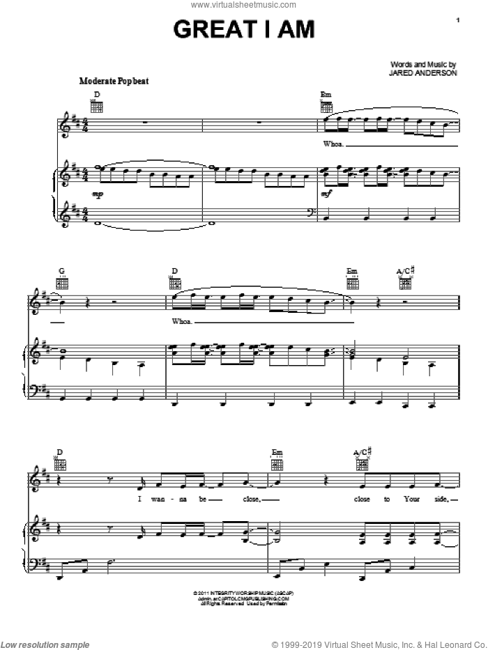 Great I Am sheet music for voice, piano or guitar by Jared Anderson, intermediate skill level