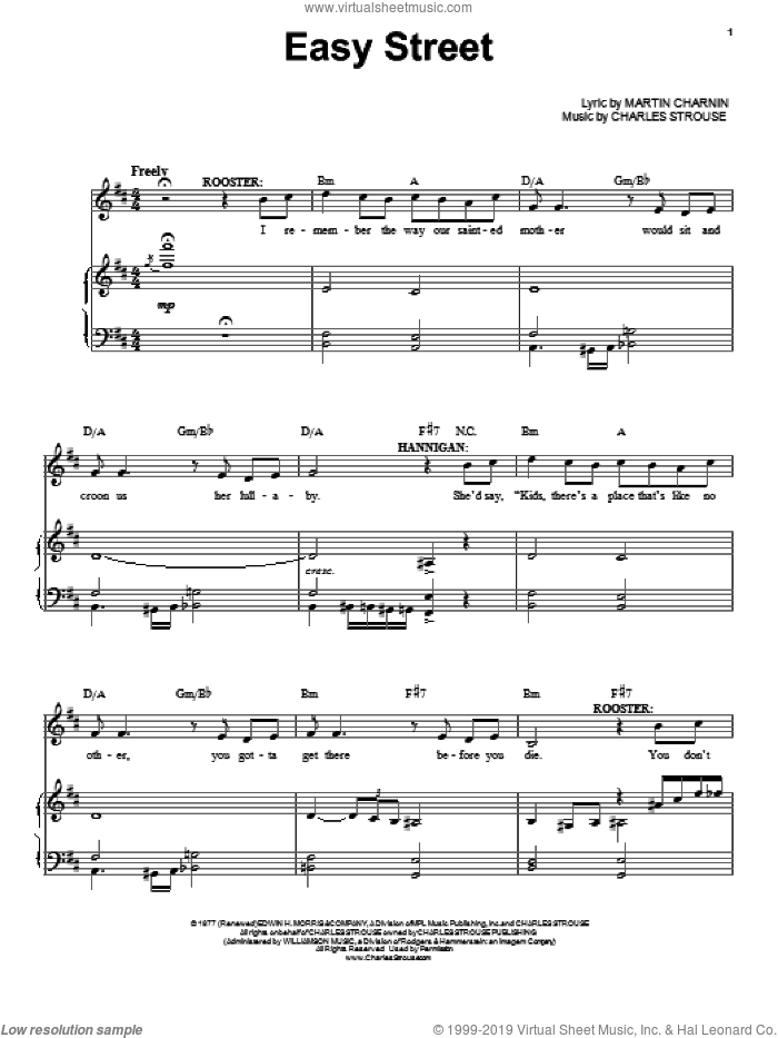 Easy Street sheet music for voice, piano or guitar by Charles Strouse, intermediate skill level