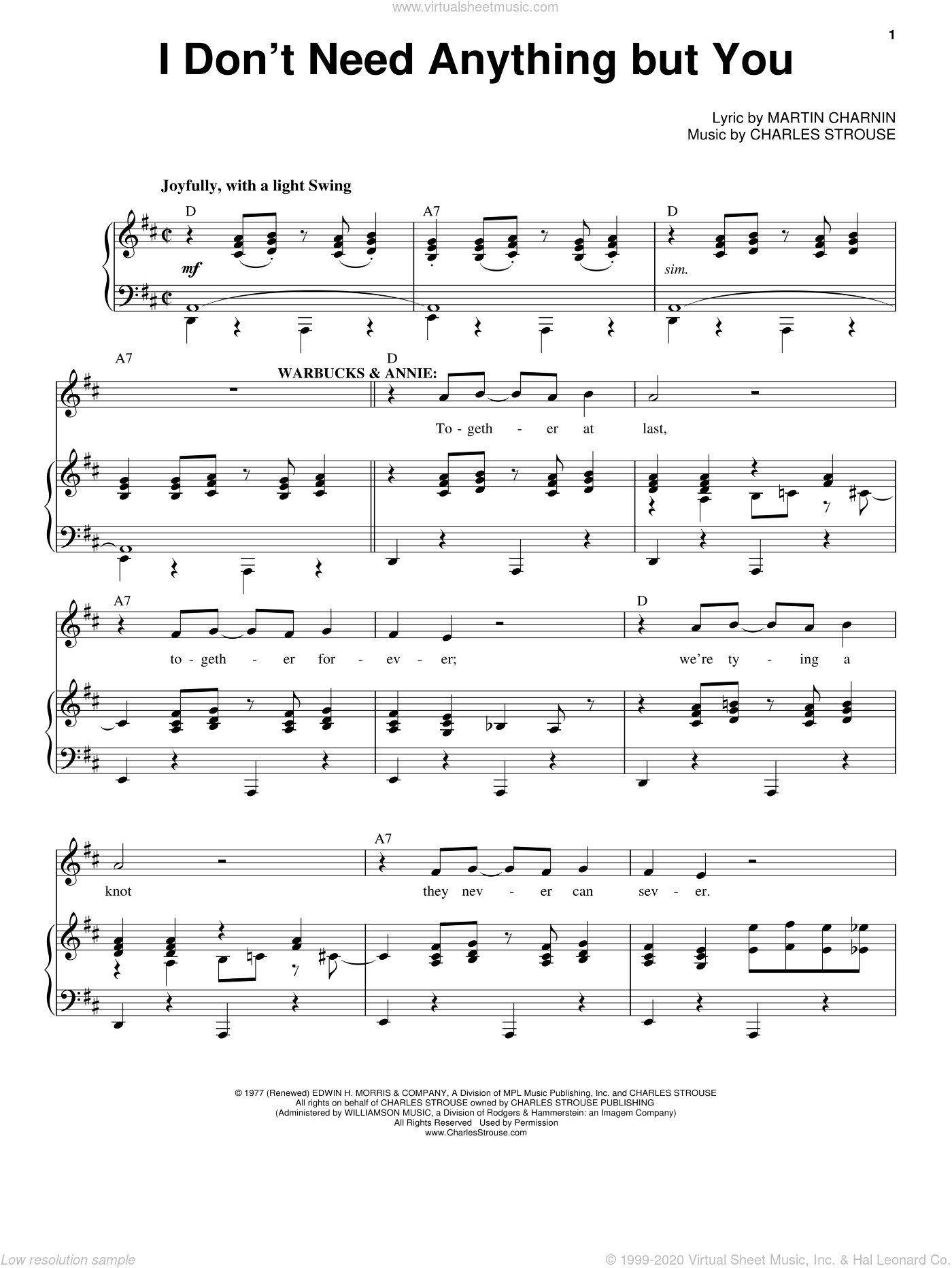 I Don't Need Anything But You sheet music for voice, piano or guitar by Charles Strouse. Score Image Preview.
