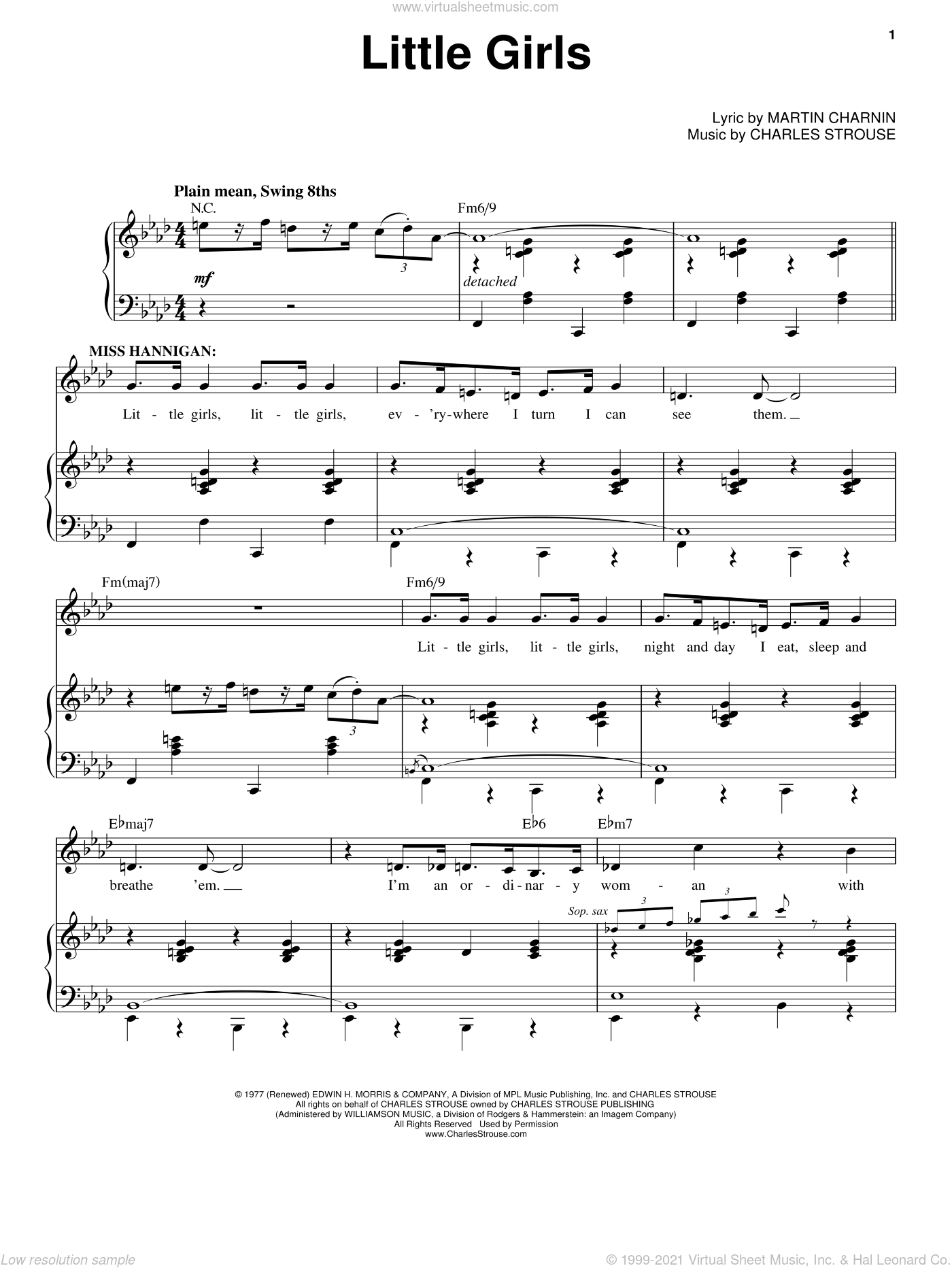 Little Girls sheet music for voice, piano or guitar by Charles Strouse, intermediate. Score Image Preview.