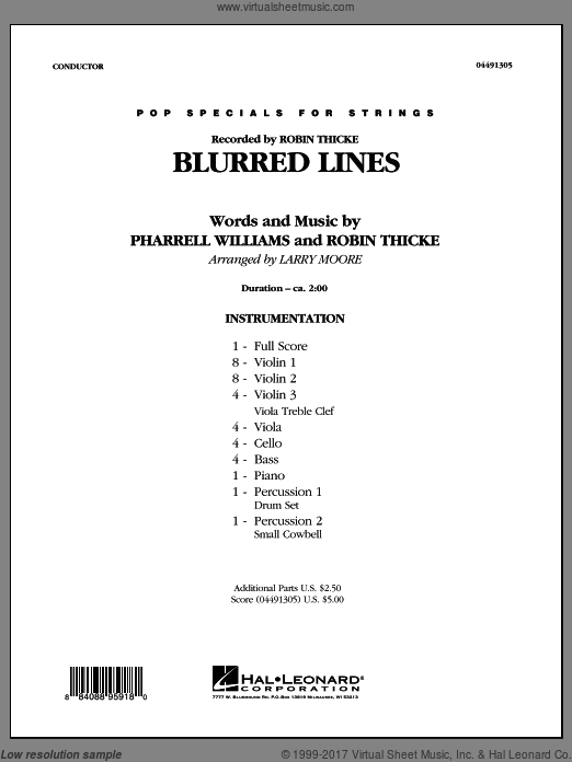 Blurred Lines (COMPLETE) sheet music for orchestra by Larry Moore