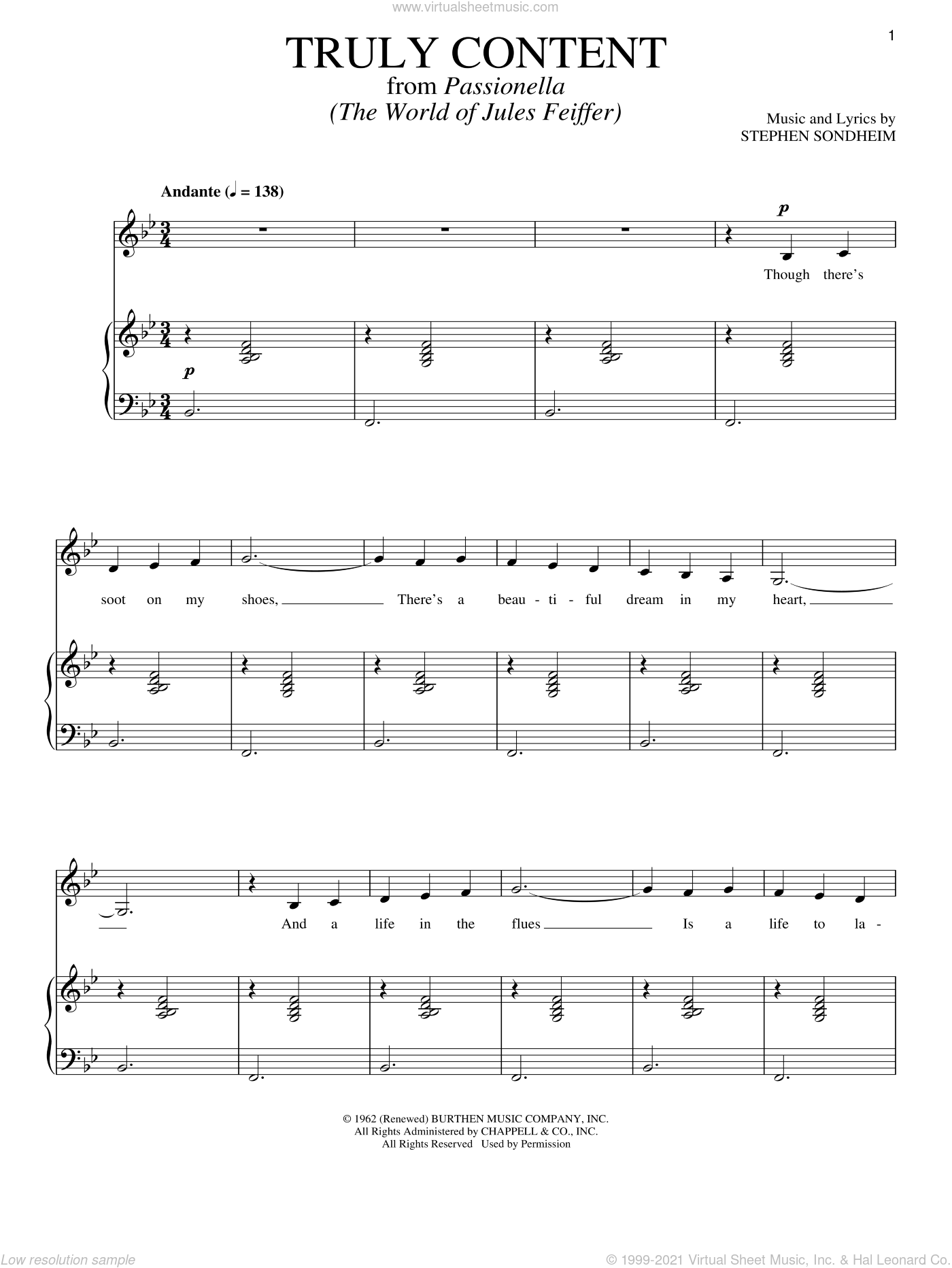Truly Content sheet music for voice and piano by Stephen Sondheim, intermediate