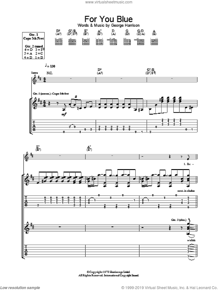 For You Blue sheet music for guitar (tablature) by George Harrison and The Beatles. Score Image Preview.