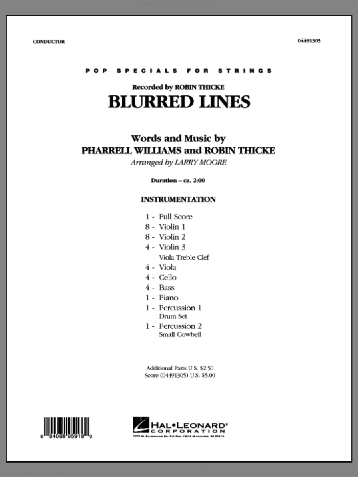 Blurred Lines (COMPLETE) sheet music for orchestra by Larry Moore and Robin Thicke, intermediate. Score Image Preview.