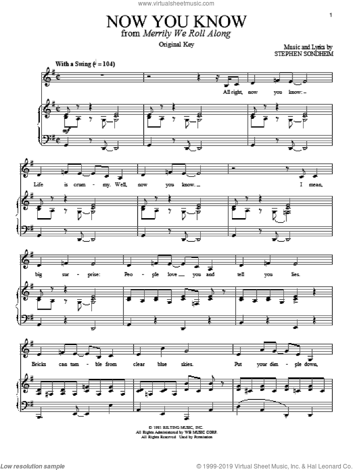 Now You Know sheet music for voice and piano by Stephen Sondheim. Score Image Preview.