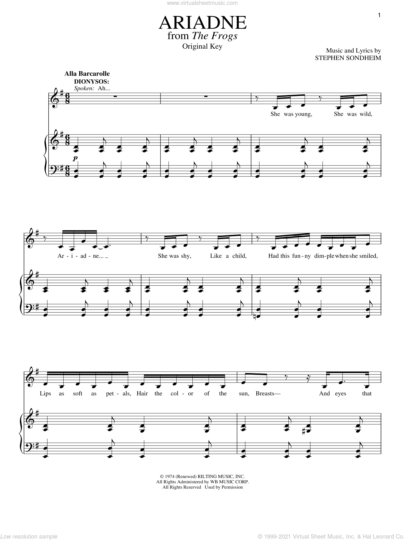 Ariadne sheet music for voice and piano by Stephen Sondheim, intermediate skill level