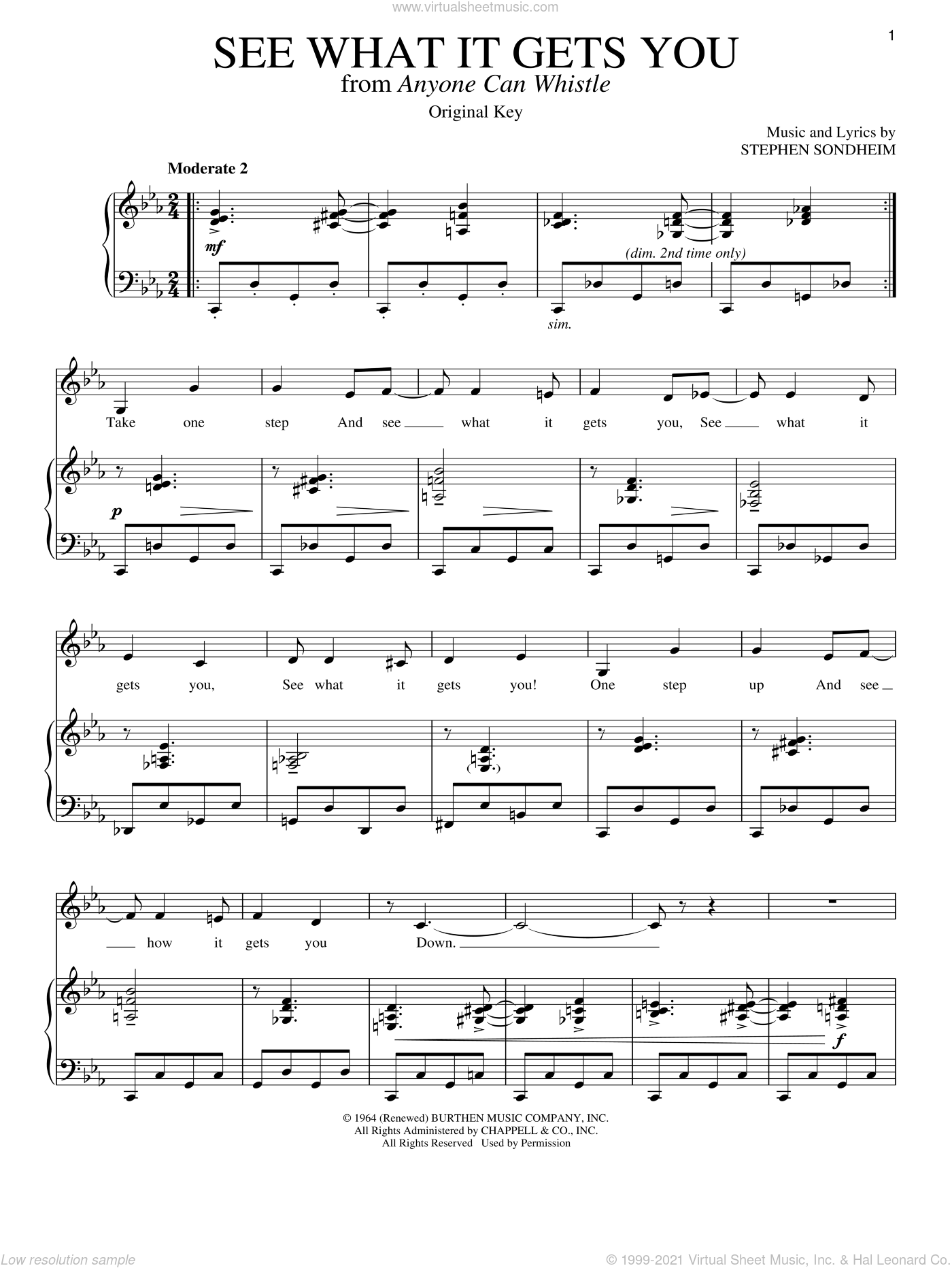 See What It Gets You sheet music for voice and piano by Stephen Sondheim. Score Image Preview.