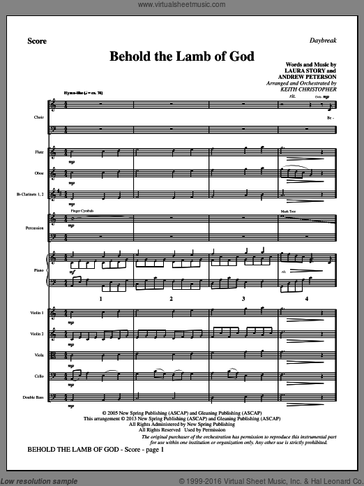 Behold the Lamb of God (COMPLETE) sheet music for orchestra by Laura Story and Keith Christopher, intermediate orchestra. Score Image Preview.