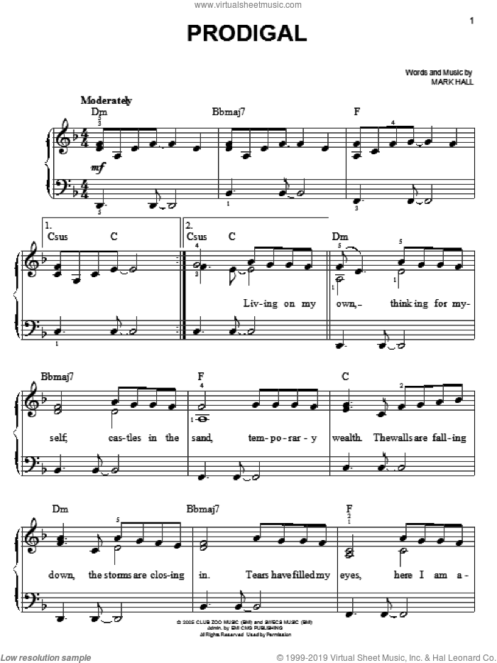 Prodigal sheet music for piano solo by Casting Crowns and Mark Hall, easy. Score Image Preview.