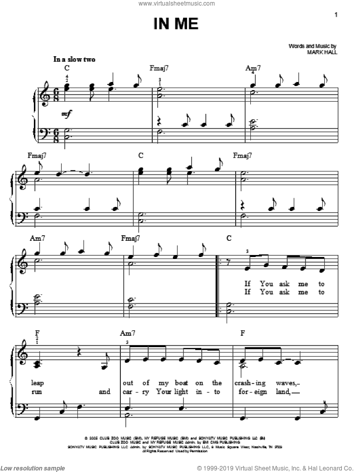 In Me sheet music for piano solo by Casting Crowns and Mark Hall, easy skill level