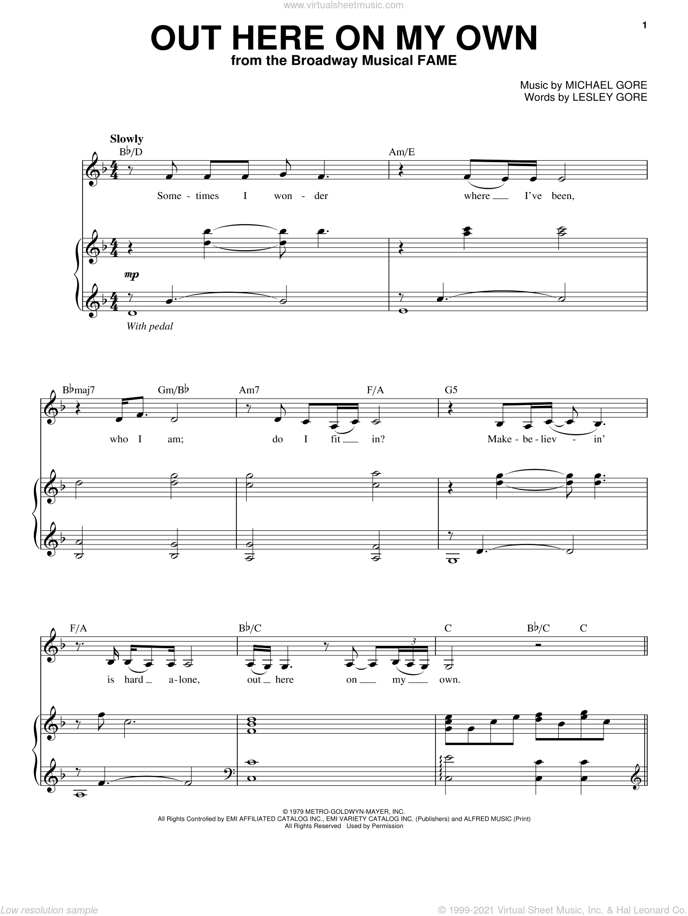 Out Here On My Own sheet music for voice and piano by Michael Gore and Lesley Gore, intermediate skill level