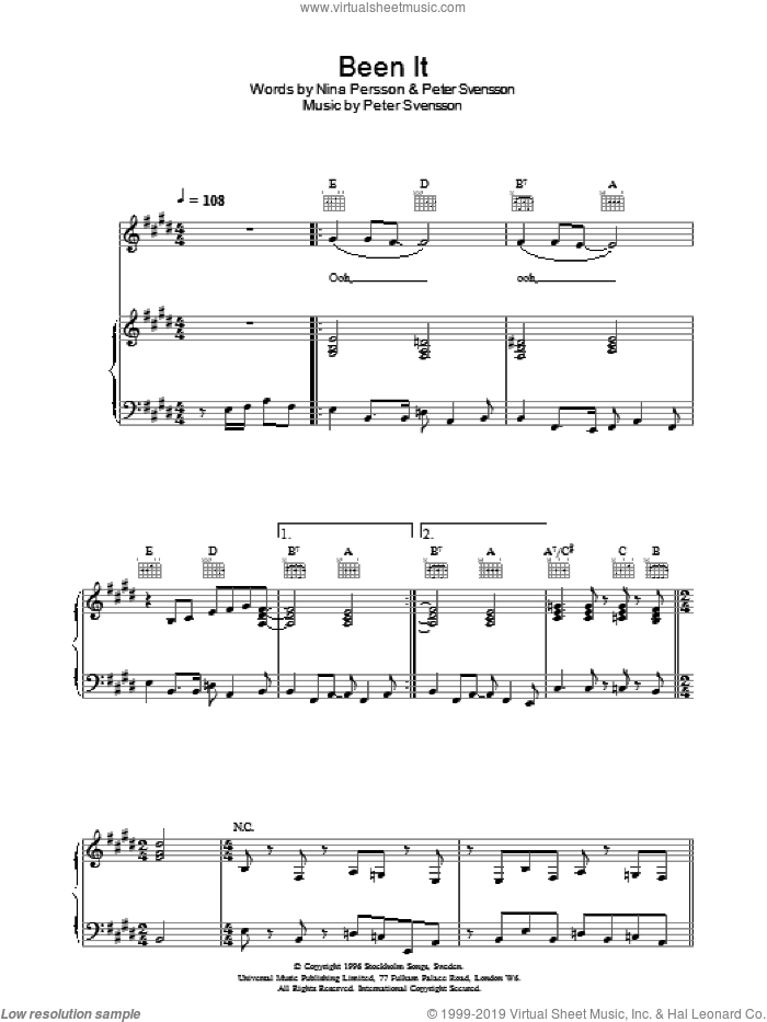 Been It sheet music for voice, piano or guitar by Peter Svensson, The Cardigans and Nina Persson. Score Image Preview.