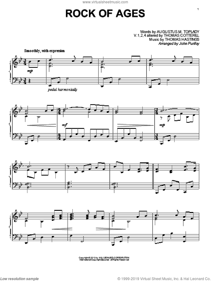 Rock Of Ages sheet music for piano solo by John Purifoy, intermediate skill level