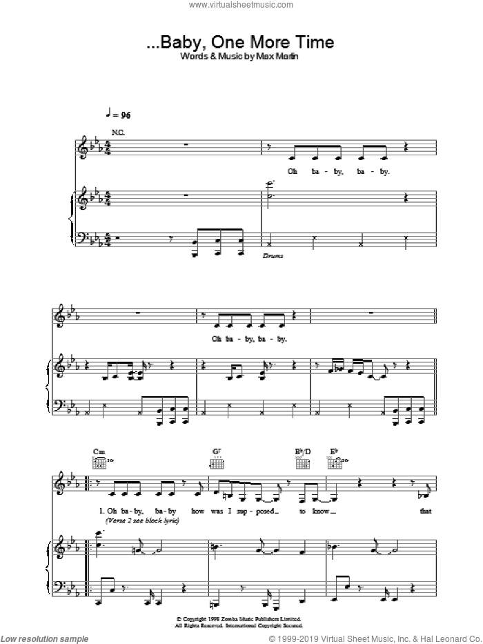 ...Baby One More Time sheet music for voice, piano or guitar by Britney Spears and Max Martin, intermediate skill level
