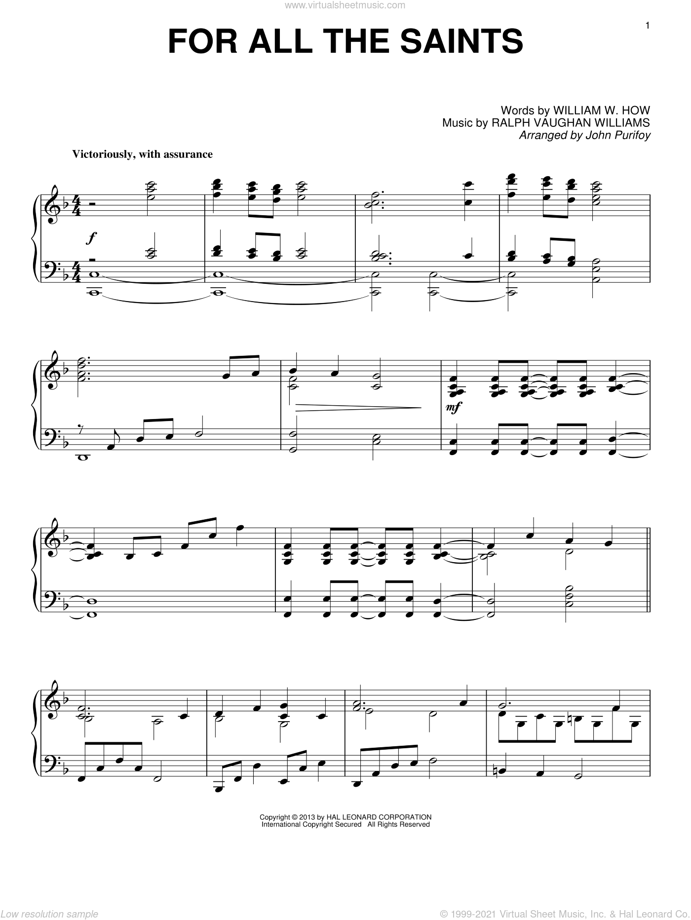 For All The Saints sheet music for piano solo by John Purifoy and William W. How. Score Image Preview.