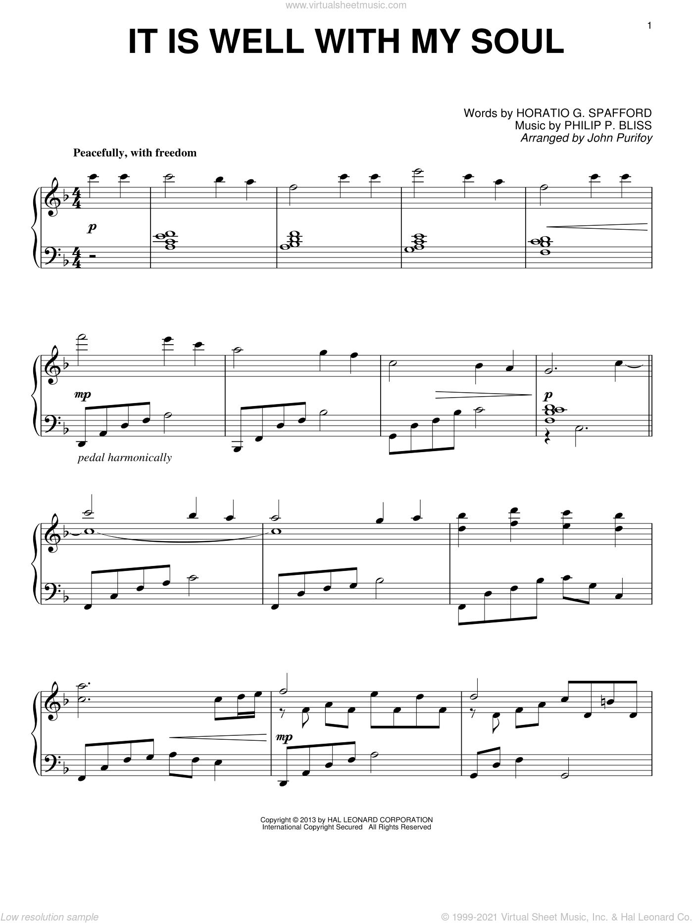 It Is Well With My Soul sheet music for piano solo by John Purifoy, Horatio G. Spafford and Philip P. Bliss, intermediate skill level
