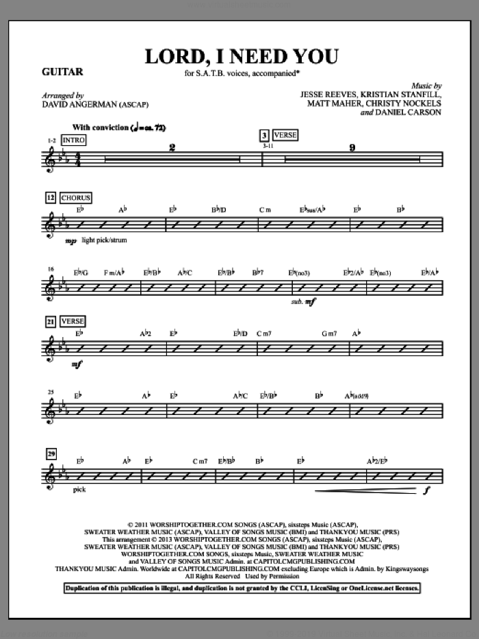 Lord, I Need You (complete set of parts) sheet music for orchestra/band by Passion and David Angerman, intermediate. Score Image Preview.