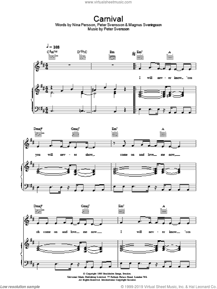 Carnival sheet music for voice, piano or guitar by The Cardigans, Magnus Sveningsson, Nina Persson and Peter Svensson, intermediate skill level