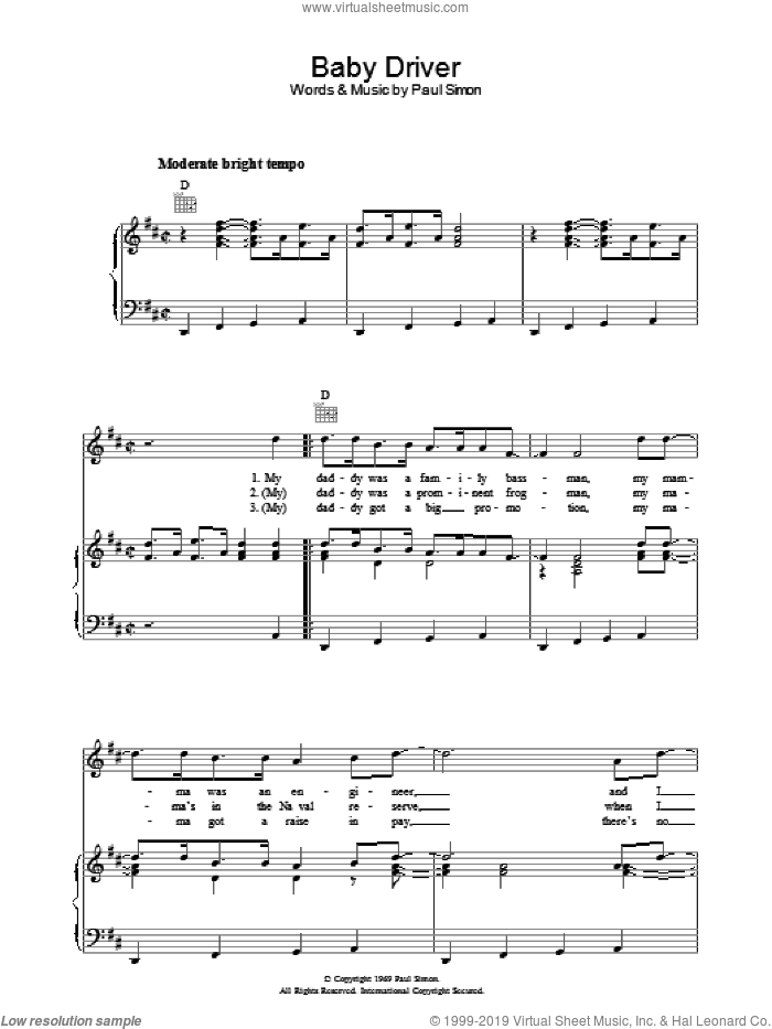 Baby Driver sheet music for voice, piano or guitar by Simon & Garfunkel and Paul Simon, intermediate skill level