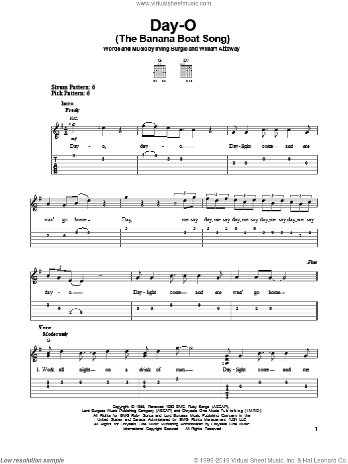 Day-O (The Banana Boat Song) sheet music for guitar solo (easy tablature) by Harry Belafonte