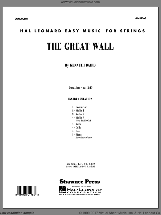 The Great Wall (COMPLETE) sheet music for orchestra by Kenneth Baird
