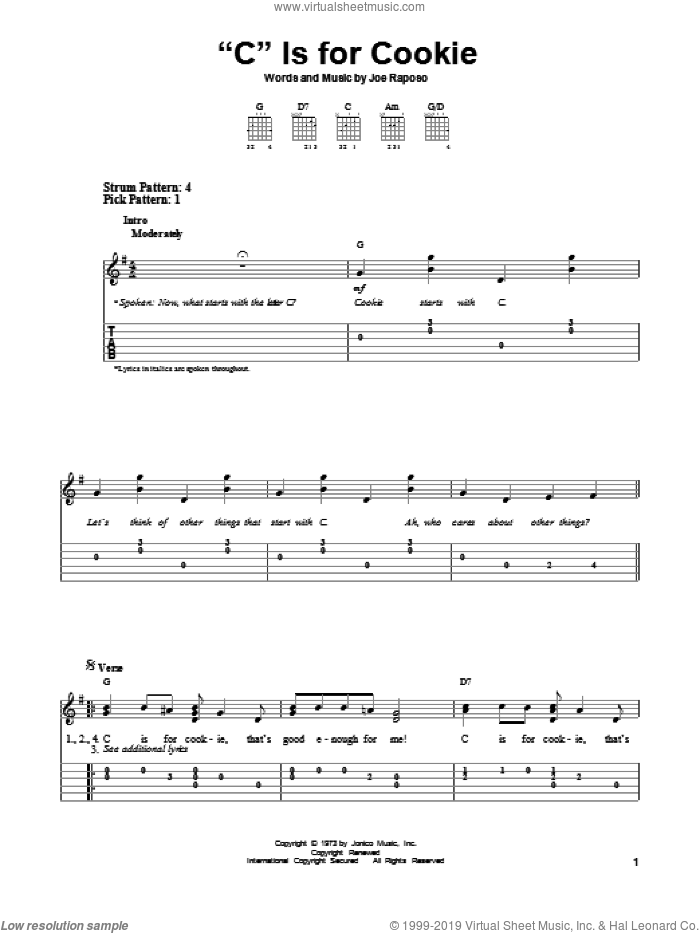 'C' Is For Cookie sheet music for guitar solo (easy tablature) by The Cookie Monster and Joe Raposo, easy guitar (easy tablature)