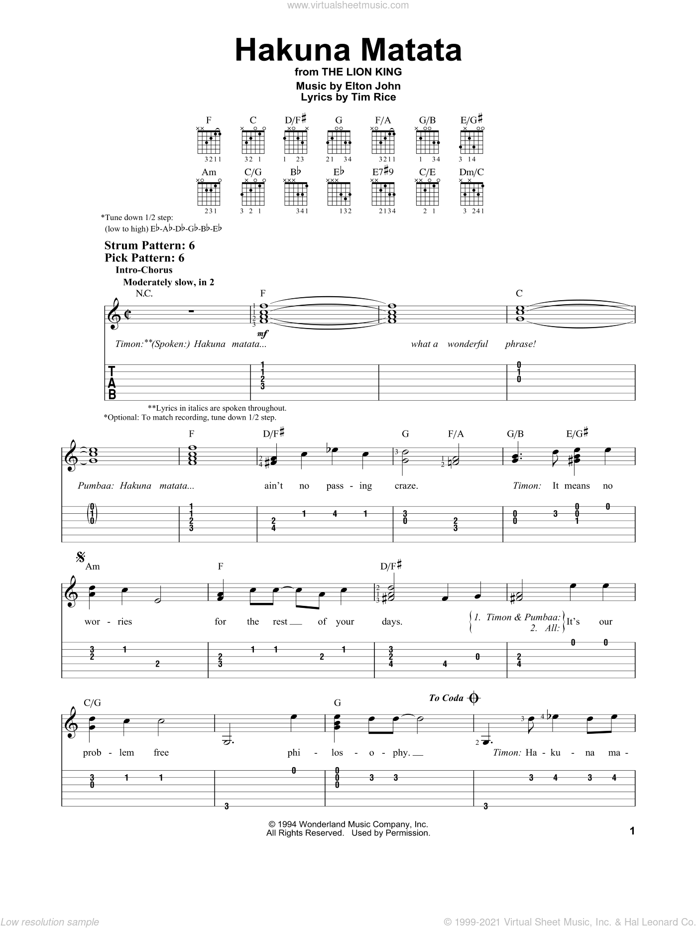 Hakuna Matata (from The Lion King) sheet music for guitar solo (easy tablature) by Tim Rice and Elton John, easy guitar (easy tablature)
