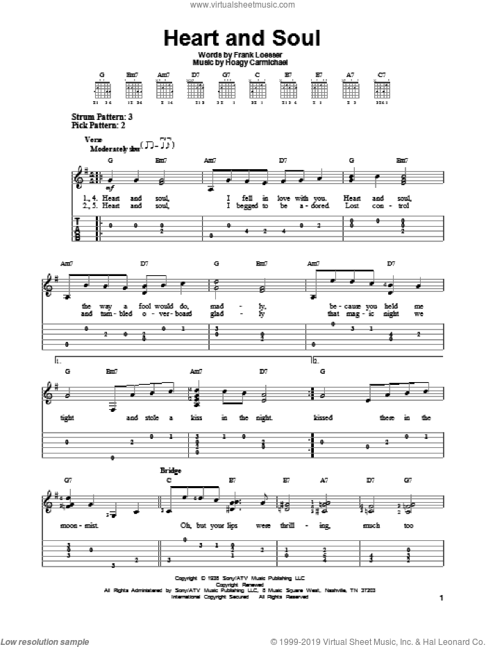 Heart And Soul sheet music for guitar solo (easy tablature) by Hoagy Carmichael and Frank Loesser, easy guitar (easy tablature)