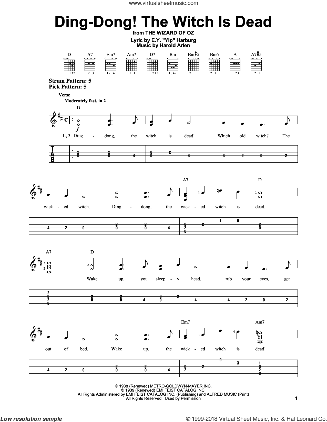 Ding-Dong! The Witch Is Dead sheet music for guitar solo (easy tablature) by E.Y. Harburg and Harold Arlen. Score Image Preview.