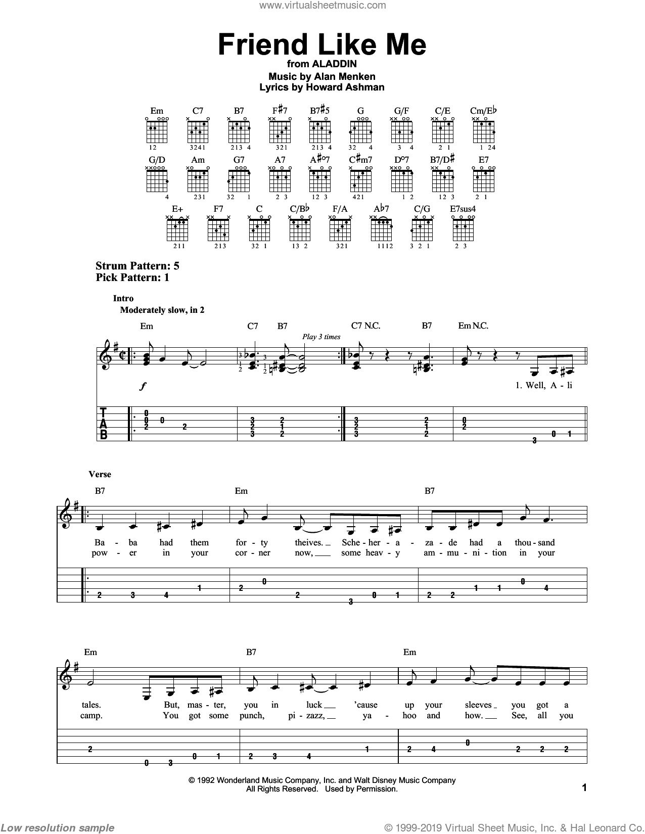 Friend Like Me sheet music for guitar solo (easy tablature) by Alan Menken and Howard Ashman, easy guitar (easy tablature)