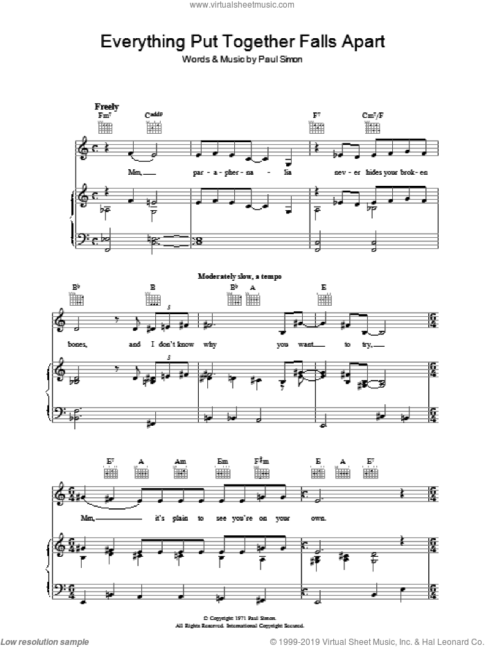 Everything Put Together Falls Apart sheet music for voice, piano or guitar by Paul Simon, intermediate voice, piano or guitar. Score Image Preview.