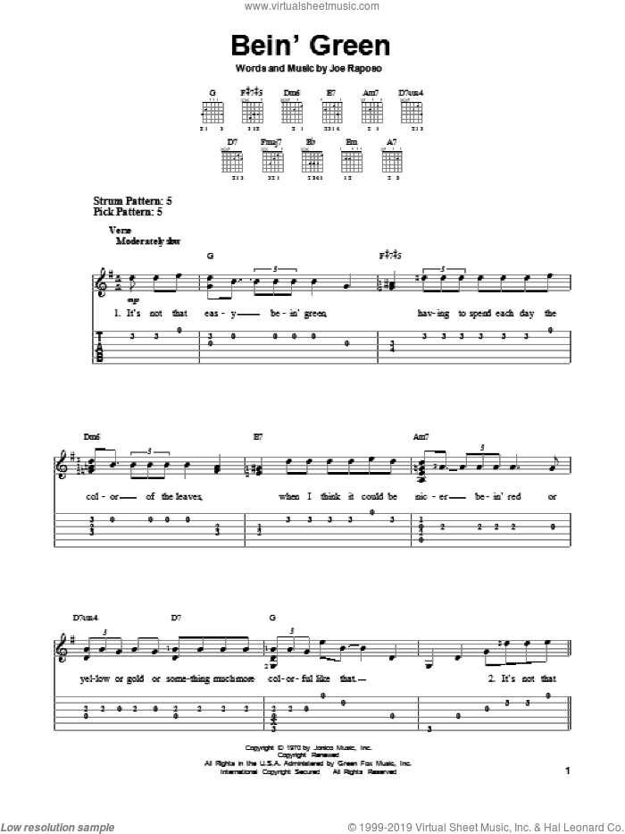 Bein' Green sheet music for guitar solo (easy tablature) by Kermit The Frog, easy guitar (easy tablature)