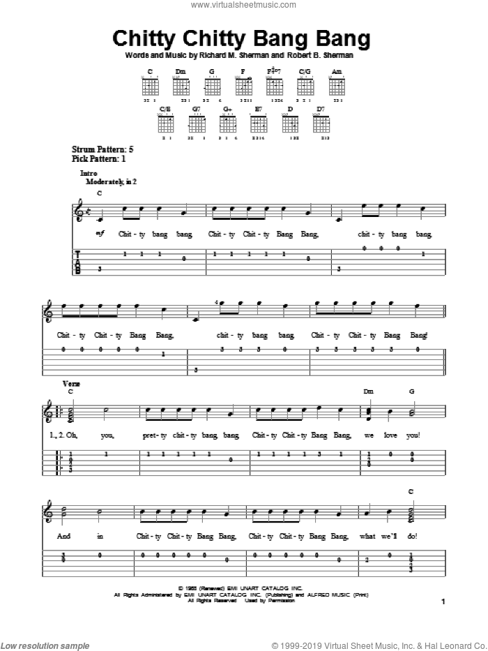 Chitty Chitty Bang Bang sheet music for guitar solo (easy tablature) by Richard M. Sherman and Robert B. Sherman. Score Image Preview.