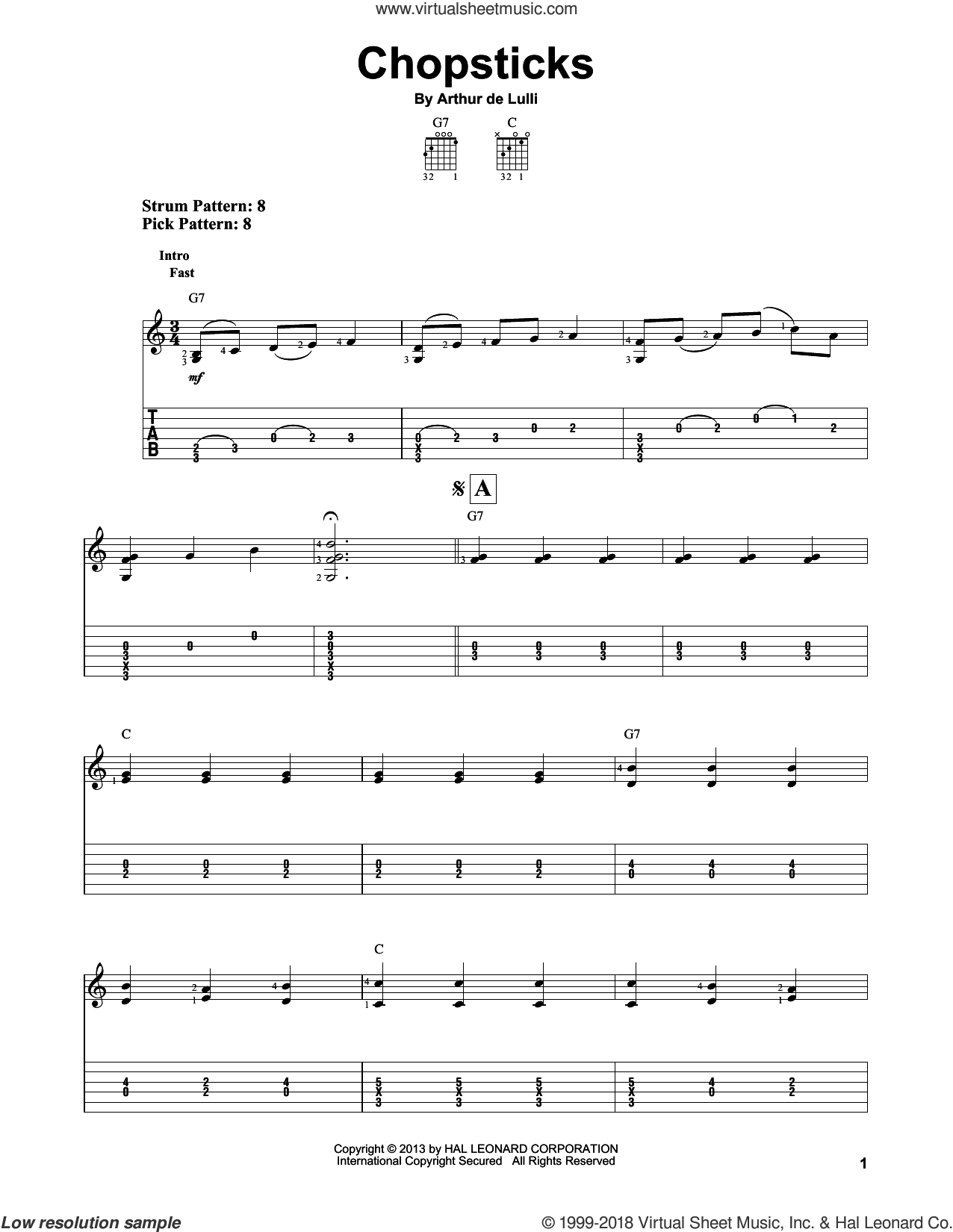 Chopsticks sheet music for guitar solo (easy tablature) by Arthur de Lulli. Score Image Preview.