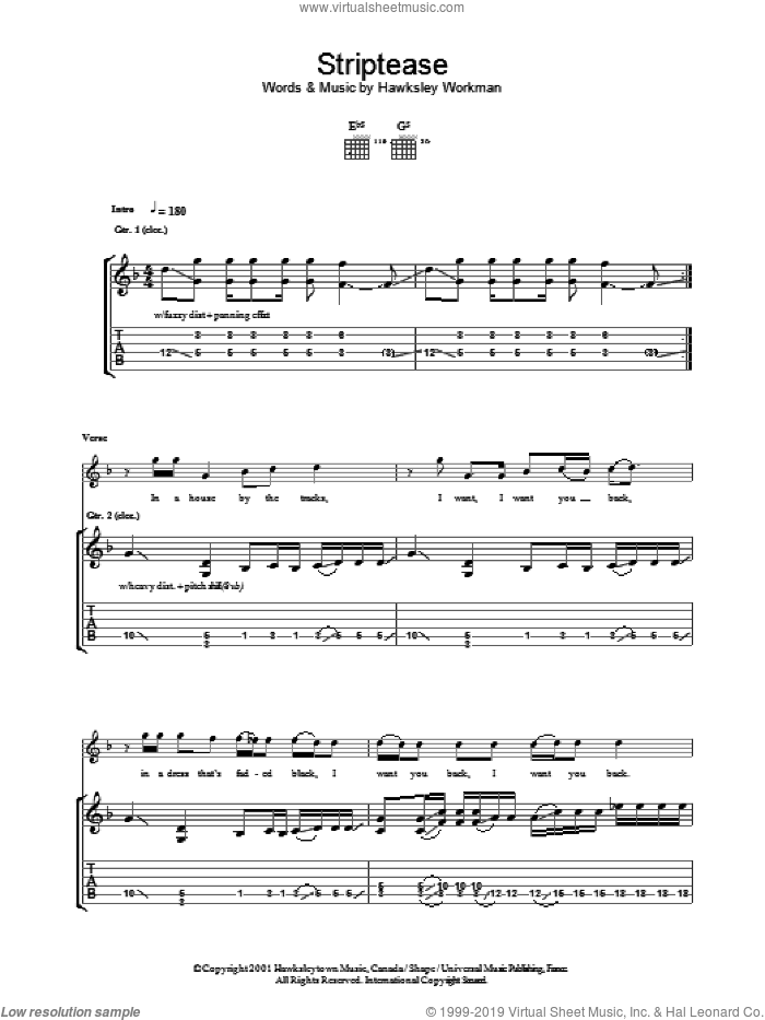 Striptease sheet music for guitar (tablature) by Hawksley Workman. Score Image Preview.