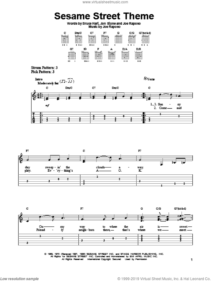 Sesame Street Theme sheet music for guitar solo (easy tablature) by Jon Stone, Bruce Hart and Joe Raposo. Score Image Preview.