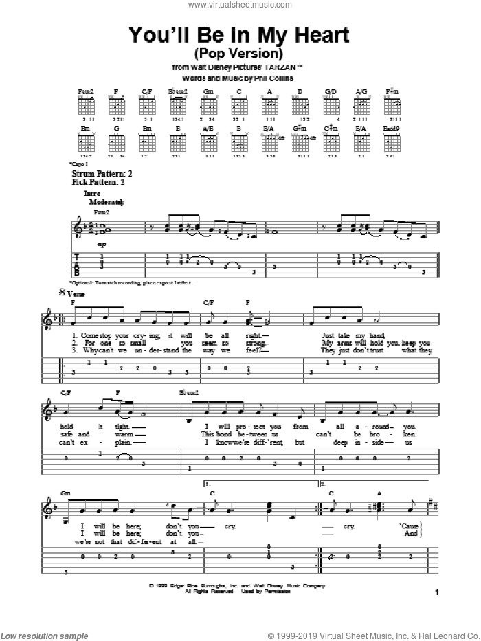 You'll Be In My Heart (Pop Version) sheet music for guitar solo (easy tablature) by Phil Collins, easy guitar (easy tablature)