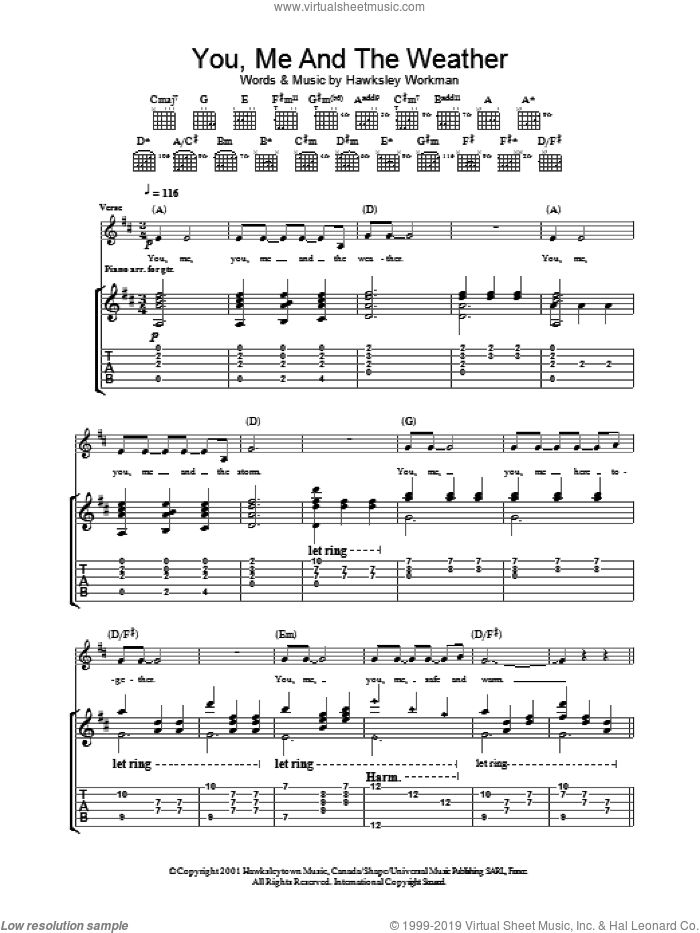 You Me And The Weather sheet music for guitar (tablature) by Hawksley Workman. Score Image Preview.