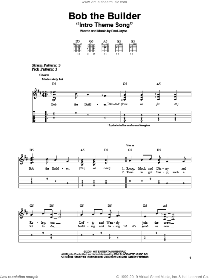 Bob The Builder 'Intro Theme Song' sheet music for guitar solo (easy tablature) by Paul Joyce, easy guitar (easy tablature)