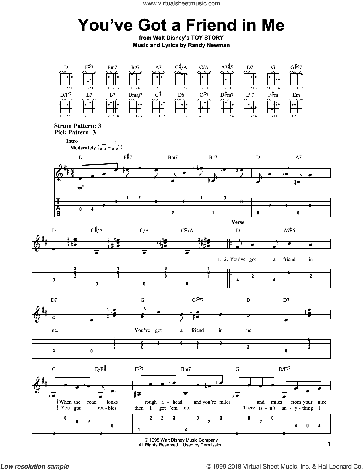 You've Got A Friend In Me sheet music for guitar solo (easy tablature) by Randy Newman, easy guitar (easy tablature)