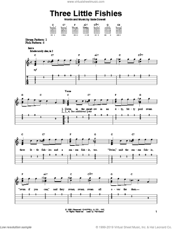 Three Little Fishies sheet music for guitar solo (easy tablature) by Saxie Dowell. Score Image Preview.