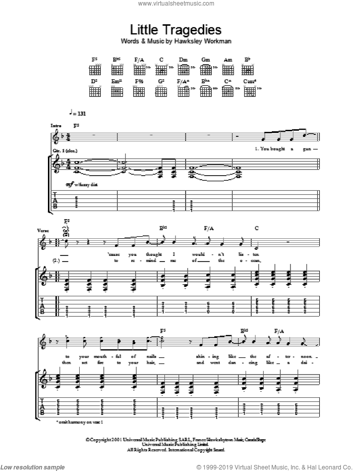 Little Tragedies sheet music for guitar (tablature) by Hawksley Workman, intermediate skill level