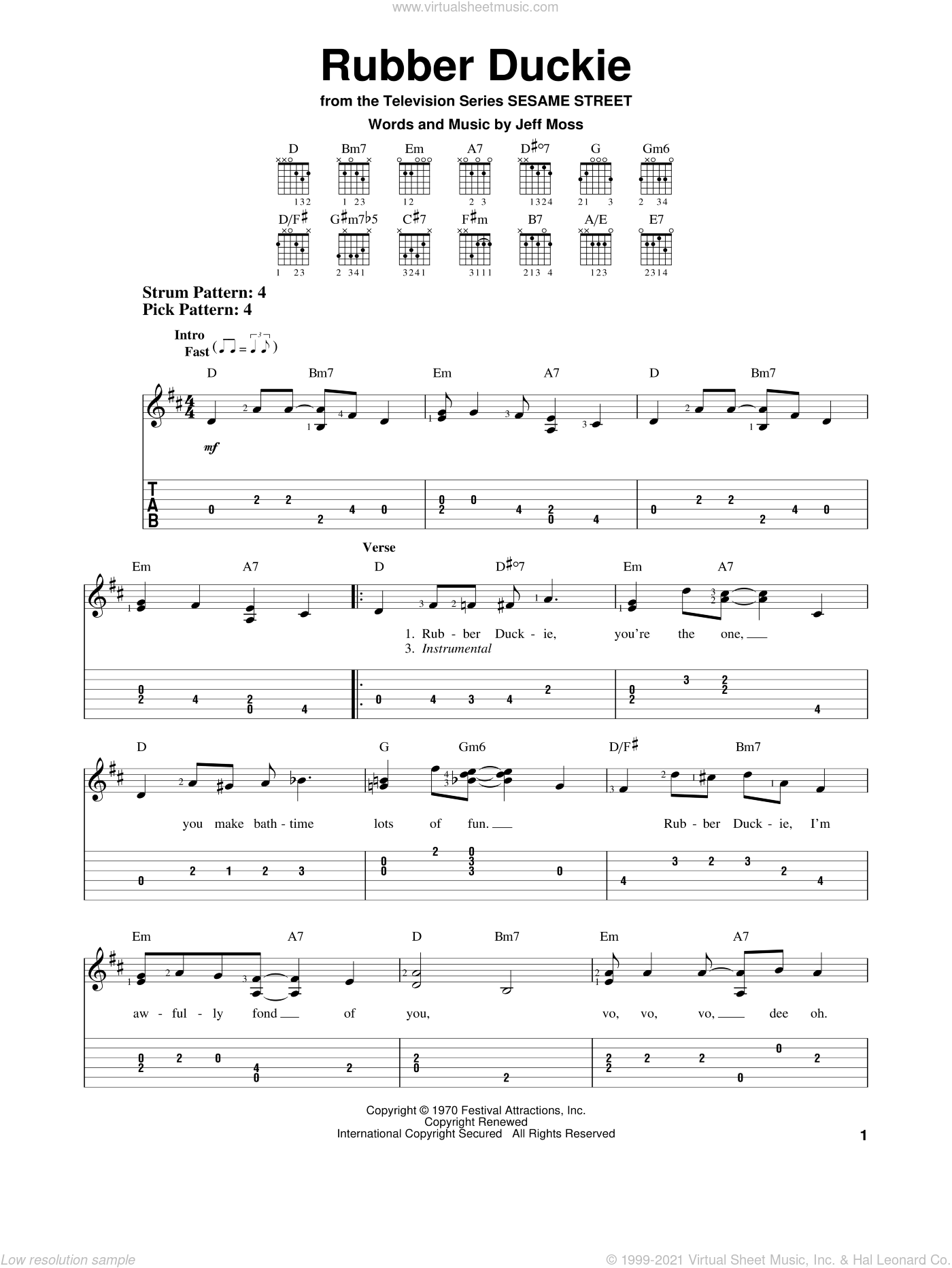 Rubber Duckie sheet music for guitar solo (easy tablature) by Jeff Moss