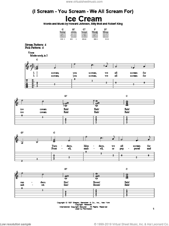 (I Scream-You Scream-We All Scream For) Ice Cream sheet music for guitar solo (easy tablature) by Howard Johnson. Score Image Preview.