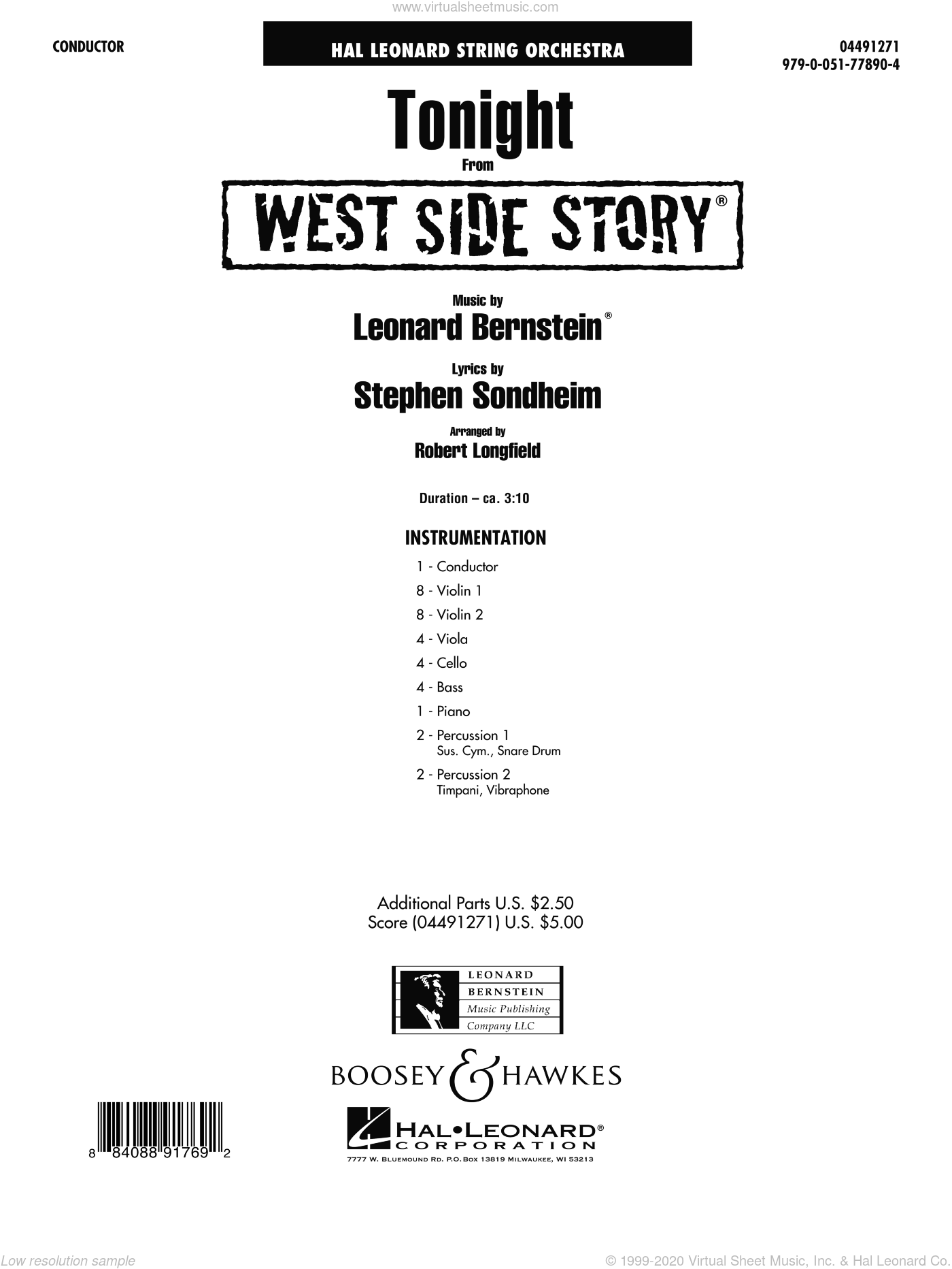 Tonight (from West Side Story) sheet music for orchestra (full score) by Leonard Bernstein and Robert Longfield. Score Image Preview.
