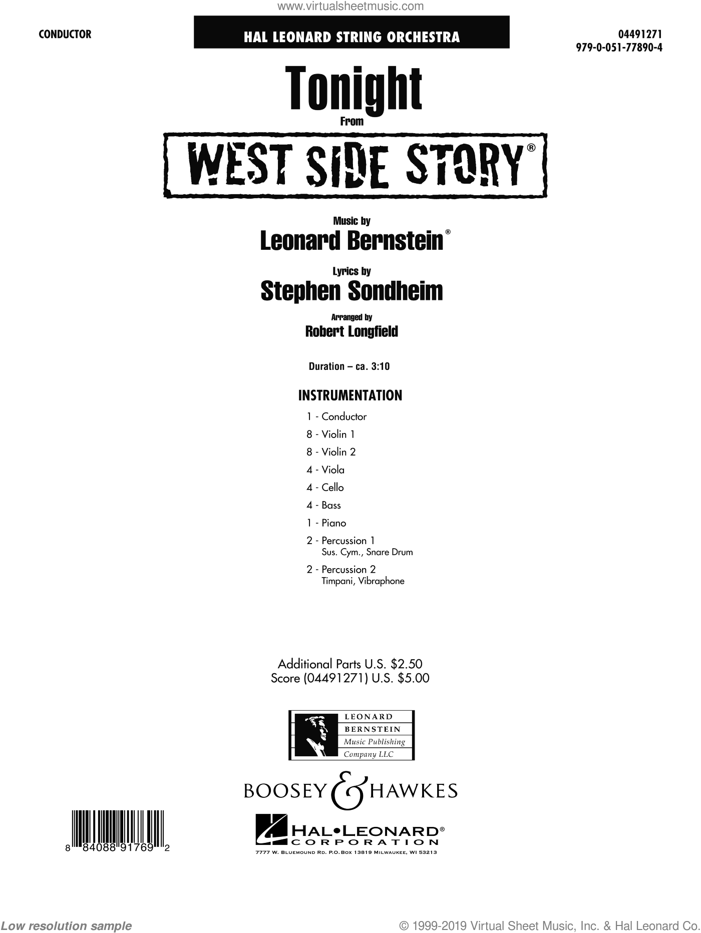 Tonight (from West Side Story) (COMPLETE) sheet music for orchestra by Leonard Bernstein and Robert Longfield. Score Image Preview.